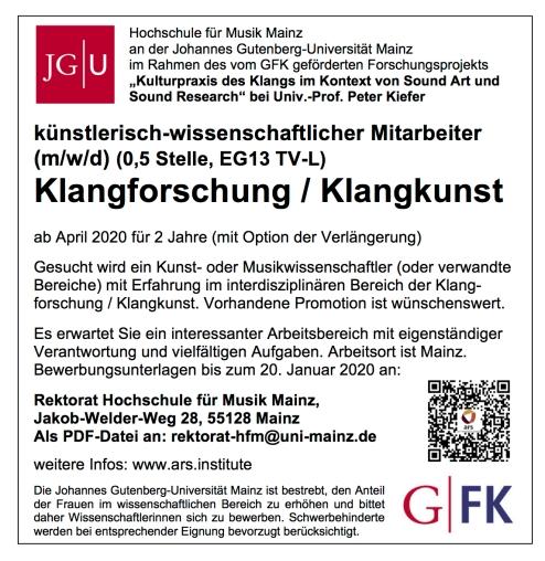 Stellenanzeige_MITARBEITER Klangforschung